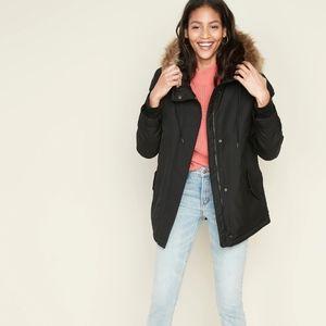 Hooded Faux-Fur Trim Parka for Women